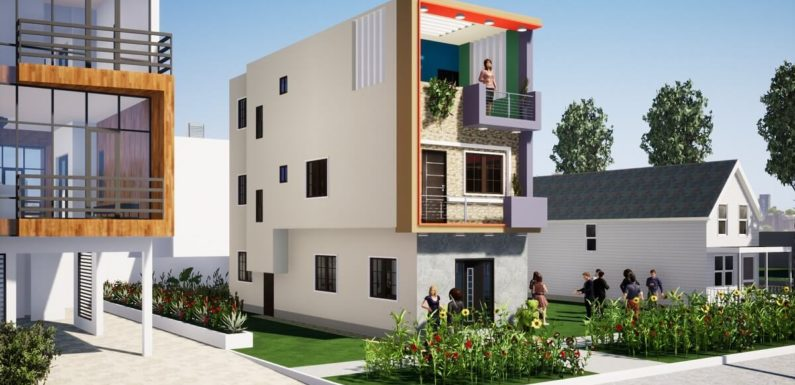 14'x45′ Home Design with 6 Bedroom 3D House