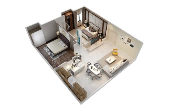 34×28 Feet Interior House Design 2BHK Download Free